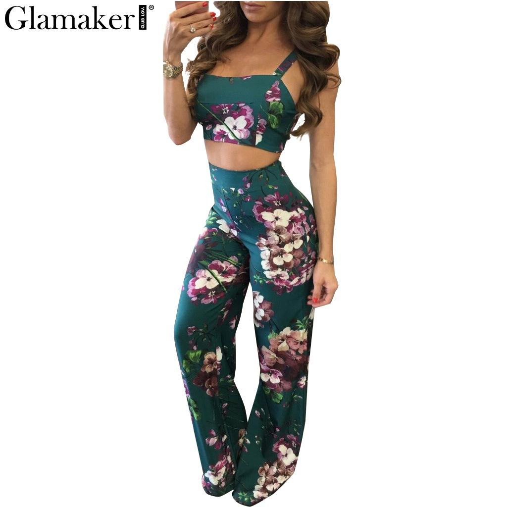 b927f4a888f2 2019 Wholesale Glamaker Boho Floral Print Jumpsuit Romper Women Backless Crop  Top Pants Set Two Piece Casual Summer Beach Rompers Overalls From Primali