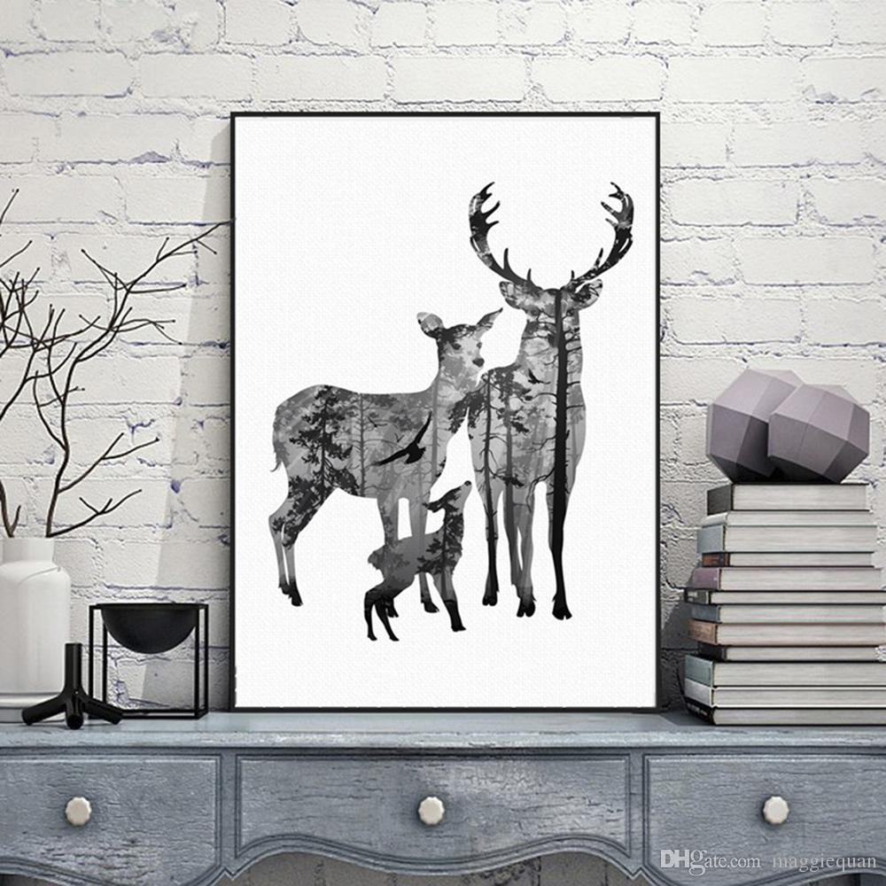 Nordic Vintage Deer Head Силуэт Плакаты Черный Белый Животных Искусства Печатает Настенные Картины Холст Картины Скандинавской Украшения Дома Без Рамы