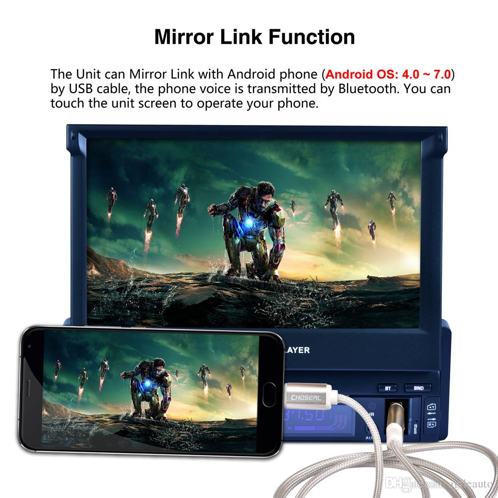 Universal 7 Inch 1 Din Bluetooth HD Touch Auto Retractable Screen Car Video Stereo Player Support Mirror Link Aux In with Rear View Camera C