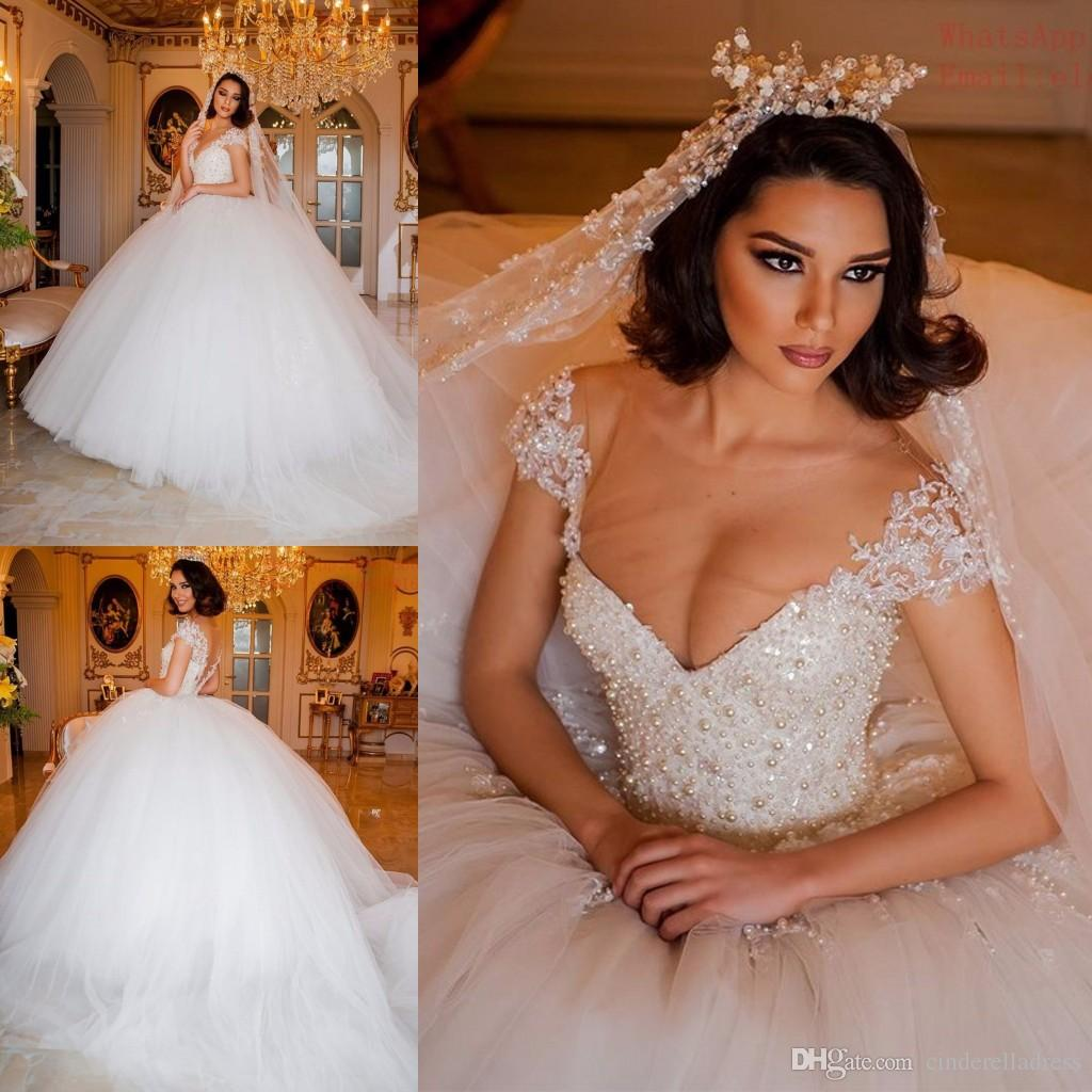Luxurious Short Sleeves Super Ball Gown Wedding Dresses