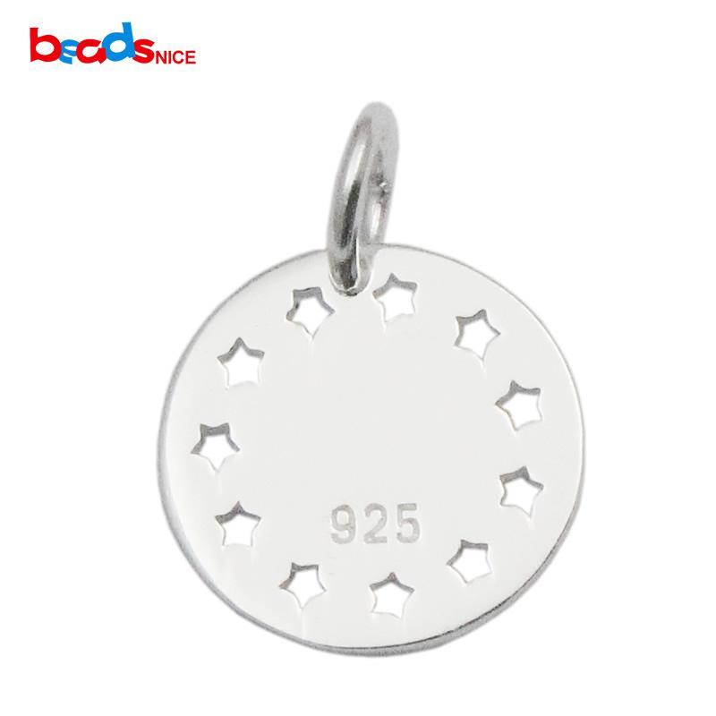 Beadsnice ronda coin star colgante 925 sterling silver star encantos recuerdos feliz regalos fabricación de joyas ID 35639