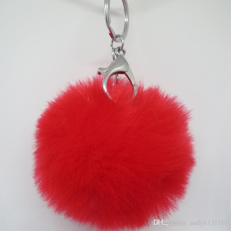 women bag charms Trinket pom pom Fluffy porte clef faux pumpon fur ball keychain pompon rabbit fur keychain K00051