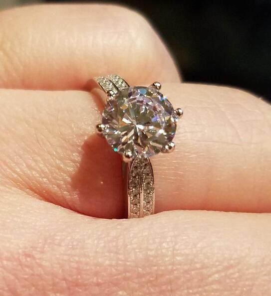 تفقد ترويج المال! غرامة مجوهرات 100 ٪ الصلبة خاتم فضة ترصيع 2 ط م سونا تشيكوسلوفاكيا خواتم الزفاف الماس للنساء