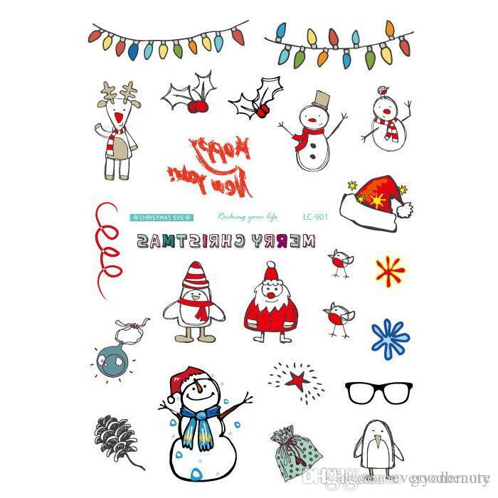 Body Art Merry Christmas Elements Large Tatoo Sticker Snow Man Sock Temporary Fake Flash Tattoo Stickers Taty Tattoos