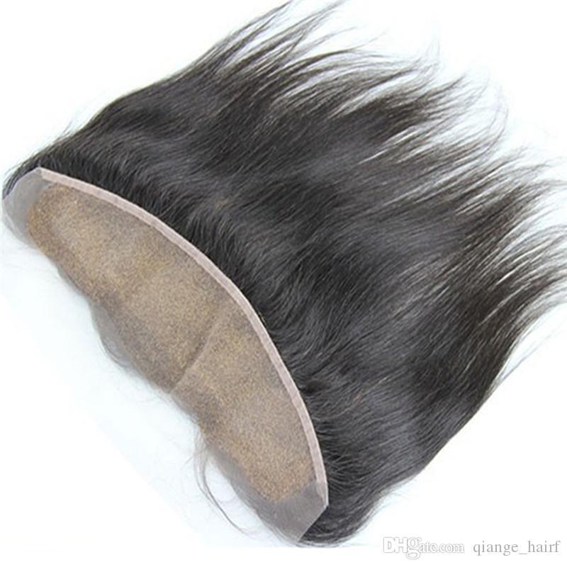 8A 버진 브라질 스트레이트 13X4 레이스 정면 폐쇄 표백 된 매듭 브라질 자연 스트레이트 귀 귀에 전체 레이스 Fontal