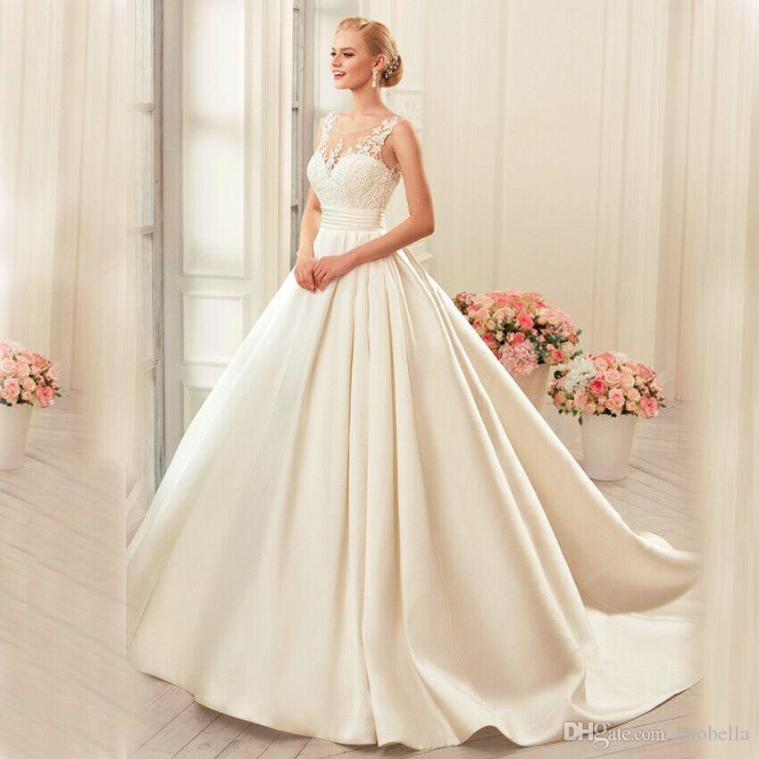 Ball Gown Elegant Simple Sleeveless Lace Satin Wedding Dresses O Neck Puffy New Backless Bridal Gowns Vestido De Noiva Plus Size African