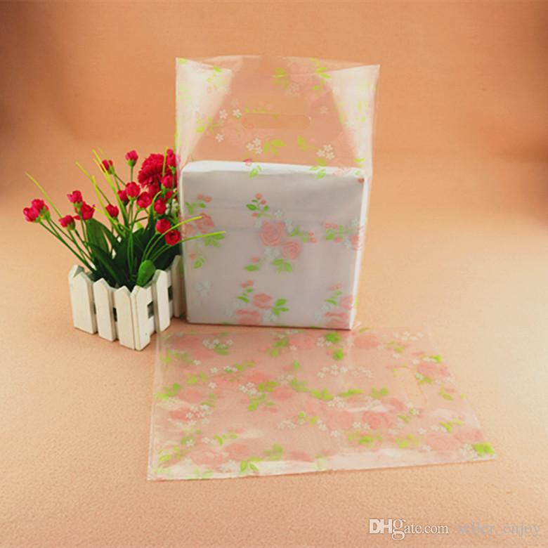 Wholesale 20*28cm Rose Floral flower transparent gift bags small Jewelry bag wholesale little size Clear Plastic bag Lady Bags