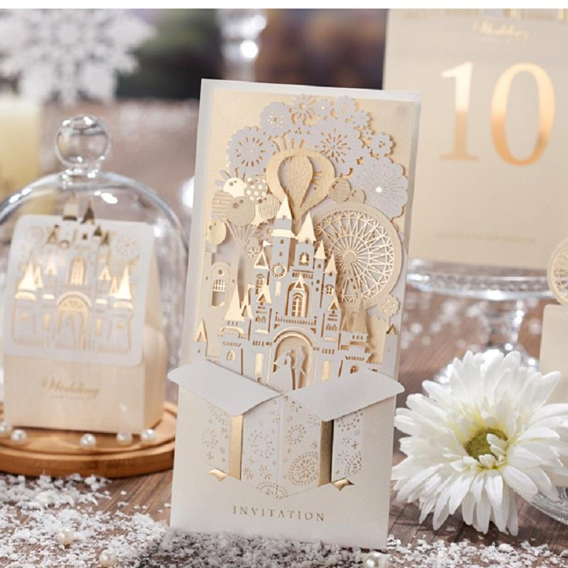 Wholesale Elegant Silver Pop Up 3D Invitation Card Laser Cut Gold Foil Wedding 2016 New Invitations Graduation