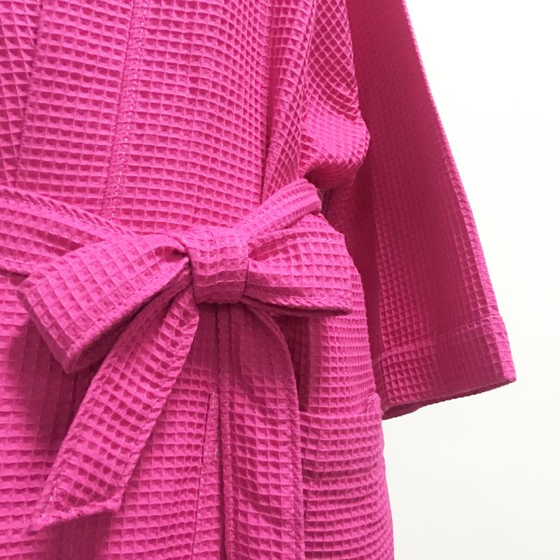 Wholesale Blanks Waffle Bathrobe Women's Dressing Gown Shower Gift Bridal Party Gift in Two Colors DOM106540