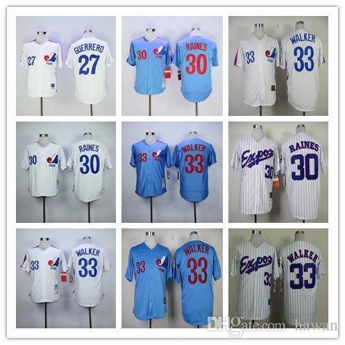 6ddc1b142 ... Mens Montreal Expos 27 Vladimir Guerrero 30 Tim Raines 33 Larry Walker  MLB Baseball Jersey WhiteBlue ...