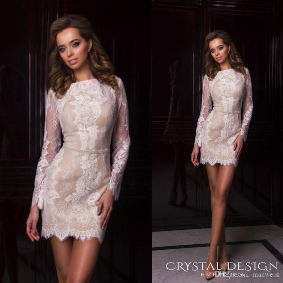 d59f491f170 Sexy Short Lace Cocktail Dresses Long Sleeve Beads Formal Party Dress  Bateau Neck Crystal Desing 2017 Evening Gowns Cocktails Dress Embellished  Cocktail ...