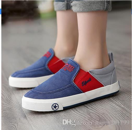 90fe235876b2 2017 Brand Designer Children Shoes Breathable Loafers Boys New Style Canvas Shoes  Kids Comfortable Casual Shoes