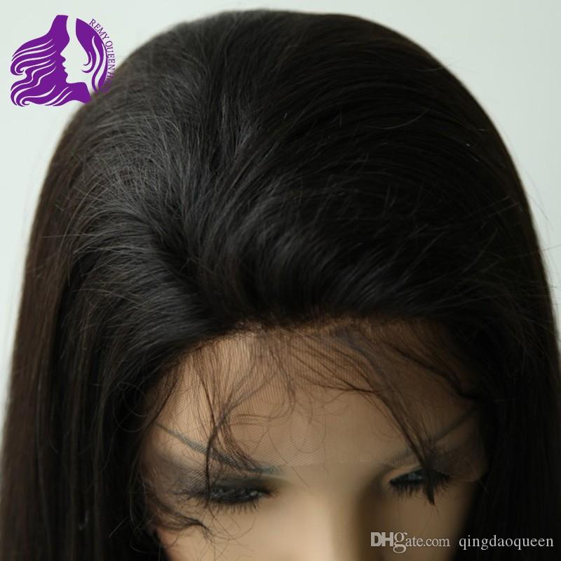 Affordable Full Lace Wigs & Glueless Full Lace Wig #1B Off Black Human Hair Brazilian Malaysian Peruvian Indian 8a Good Quality Straight Wig