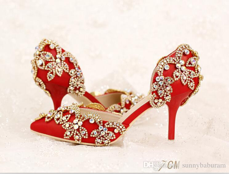 5db05177ef96 Red Women Sandals Bridal Bridesmaid Wedding Shoes With Crystals Sexy Prom  Evening Night Club Party Heels 7 9 CM Heels 067 Shop Online Shoes The Bridal  Shop ...
