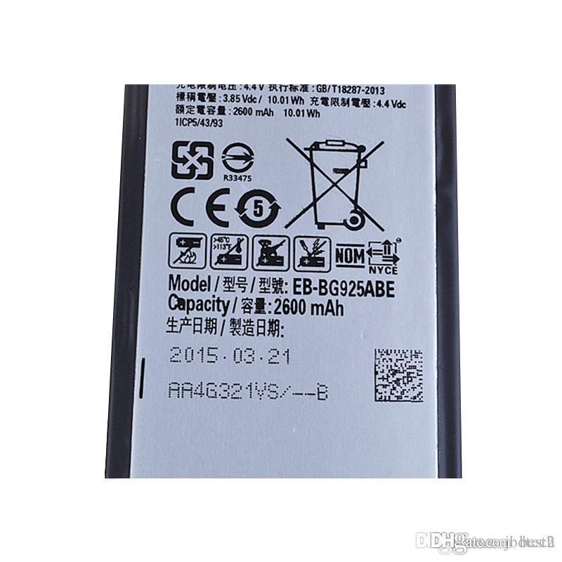 مصنع الصانع توريد s6 / s6 حافة البطارية G9250 بطاريات EB-BG925ABE خلية البطارية المحمولة لسامسونج s6 / s6 حافة G9250 100 قطع