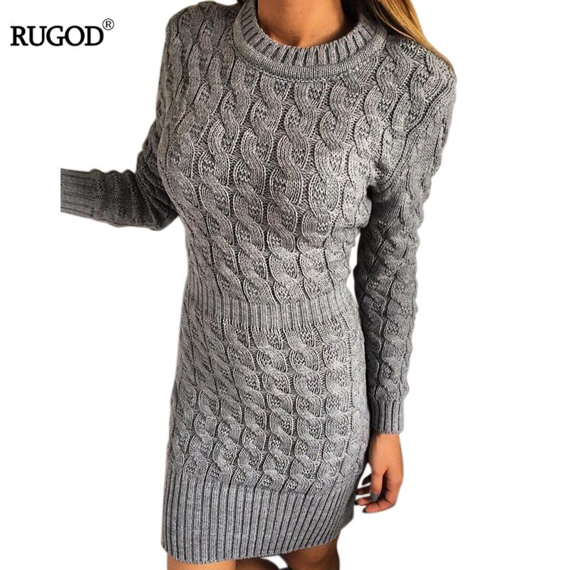 Wholesale- Twisted Knit Slim Knitted Sweater Dress Women 2017 Spring Solid Long Sleeve Mini Dress Short Dresses Autumn Knitwear Vestidos