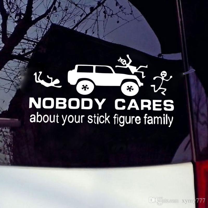 Divertente caldo di vendita del vinile autoadesivi dell'automobile nessuno si preoccupa il tuo Stick Figure Family Car Styling Stickers alta qualità Jdm