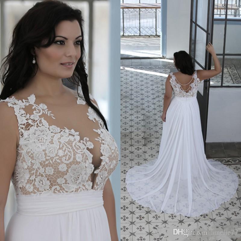 Discount Plus Size Beach Wedding Dresses A Line Sheer Bateau Neck ...