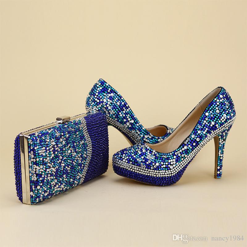 2017 Newest Arrived Unique Designe Shoes With Matching Bag Blue Rhinestone Party Prom Nightclub High Heel Bridal Wedding Shoes