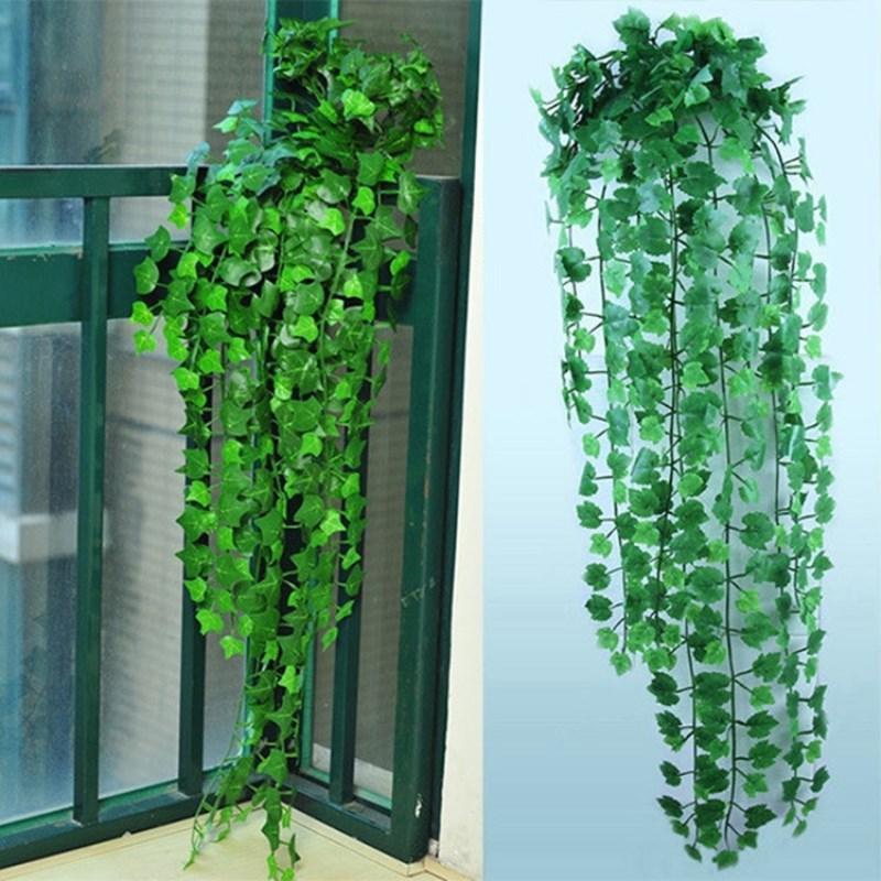 2.5m Artificielle Feuille de Lierre Guirlande Plantes Vigne Faux Feuillage Fleurs Décor À La Maison En Plastique Fleur Artificielle Rotin Evergreen Cirrus