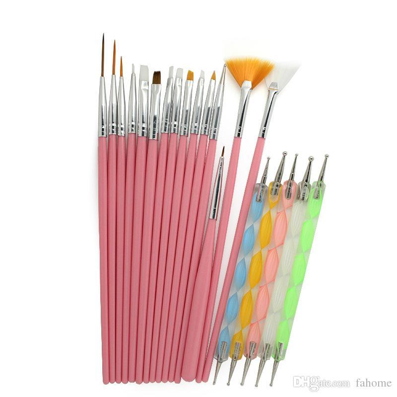 20 unids / set Nail Art Design Nail Brushes Styling Nail Art Herramientas Set Punteado Pintura Dibujo Pluma Herramientas