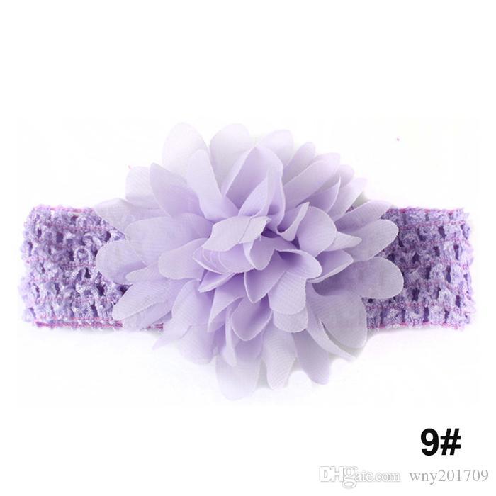 Bandeaux De Mode De Bébé Jolies Floral Rubans De Cheveux Enfants Chapeaux Accessoires Fleur En Mousseline De Soie Avec Doux Crochet Élastique Bande De Cheveux