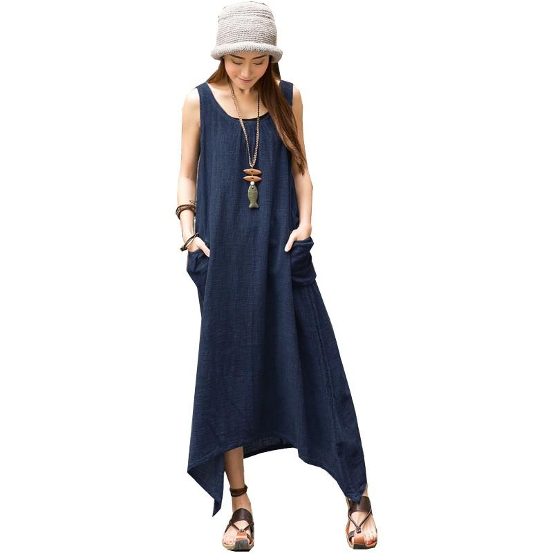 ff0136530d2 2018 Wholesale Zanzea Vestido 2017 Summer Dress Women Sleeveless Pockets  Long Dress Beach Pleated Asymmetrical Hem Loose Maxi Dresses Plus Size From  ...