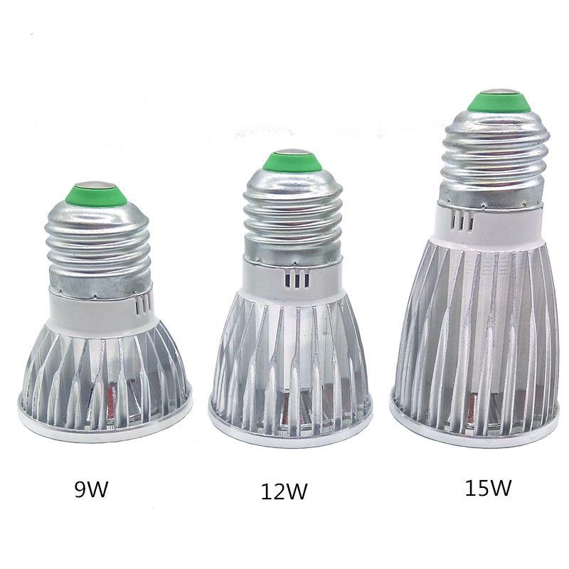Led ışıklar 9 W 12W 15W COB GU10 GU5.3 E27 E14 MR16 Dim LED Spor ışık lamba Yüksek Güç ampul DC12V AC 110V 220V 240V ampuller lambalar