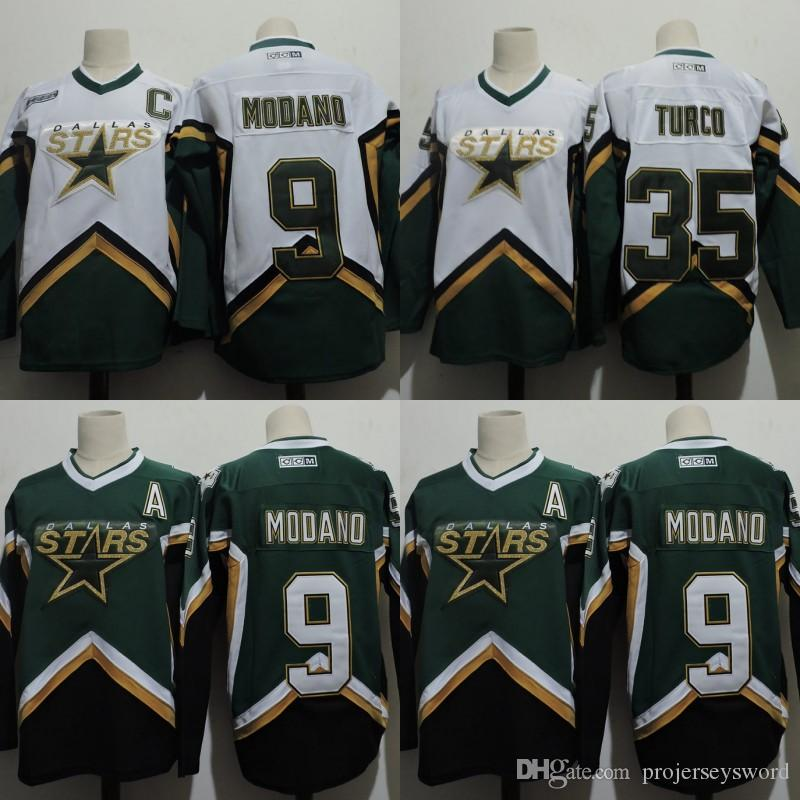 2018 mens dallas stars jersey 9 mike modano 35 marty turco 100 stitched embroidery logos hockey jerseys white green from projerseysword 42.22 dhgate.