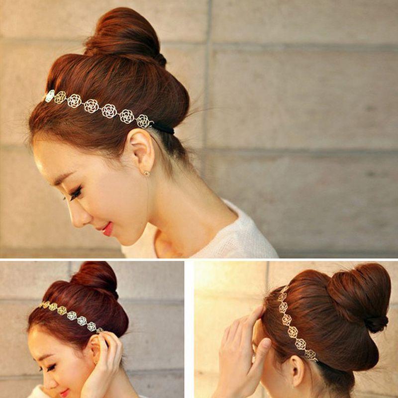 Girls Fashion Metal Chain Jewelry Hollow Rose Flower Elastic Hair