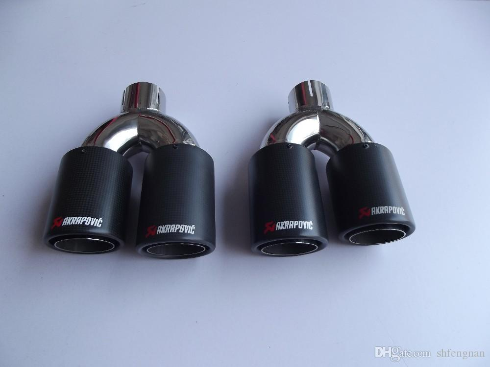 Inlet51/54/57/60/63mm outlet89/101/114mm for 304 Stainless Steel carbon fiber exhaust tip for universal brands car