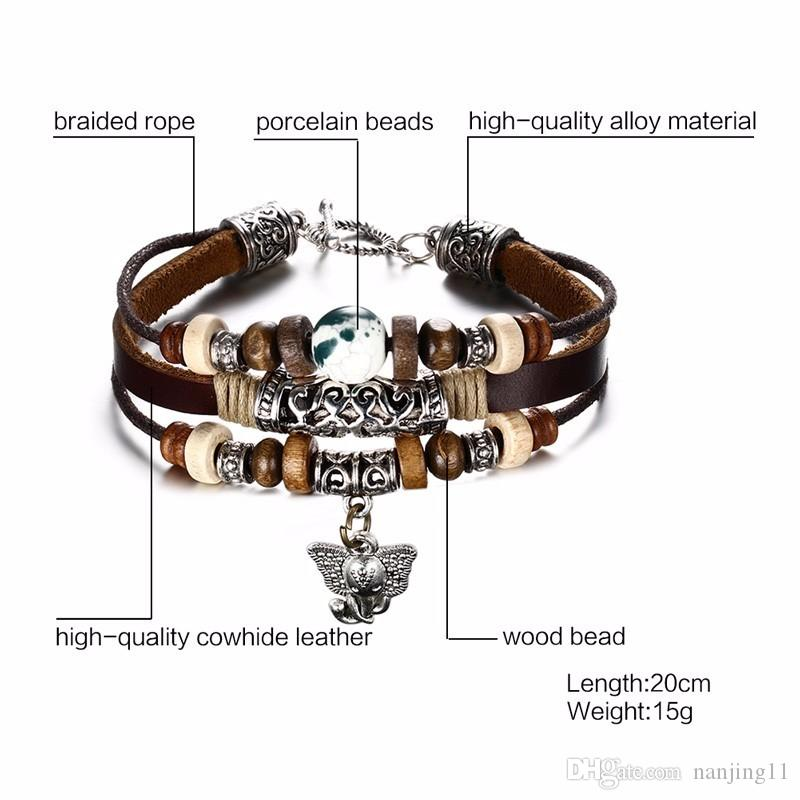 Genuine Leather Elephant Charm Bracelet For Men Cool Vintage Style Comfortable Hand Rope Chain Fashion Bangles Jewelry BL-101