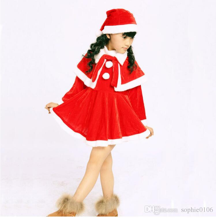 Baby Girls Christmas Santa Claus Fancy Dress with Shawl Hat Outfit Set Girls Dress sets Kids Christmas sets JM11 001