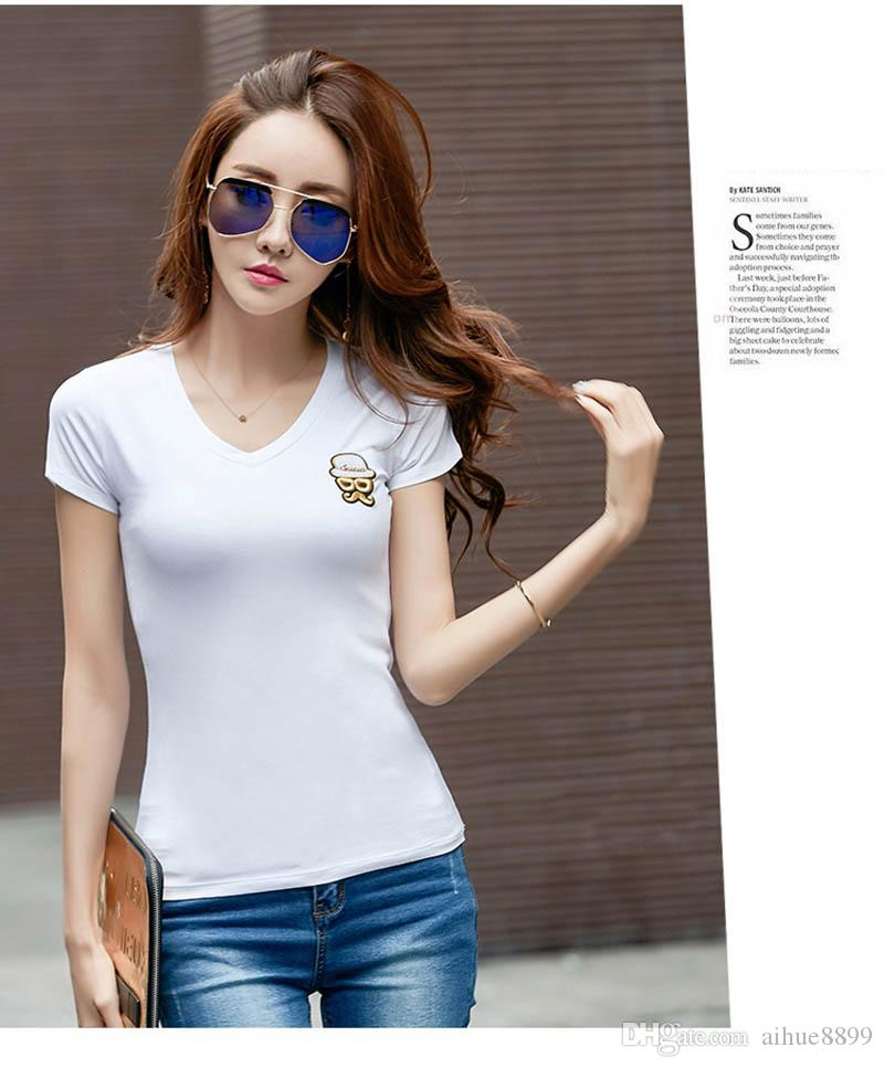 Fashion Ladies' stylish Picture print women T shirt cute black white rose red short sleeve shirts casual brand design tops