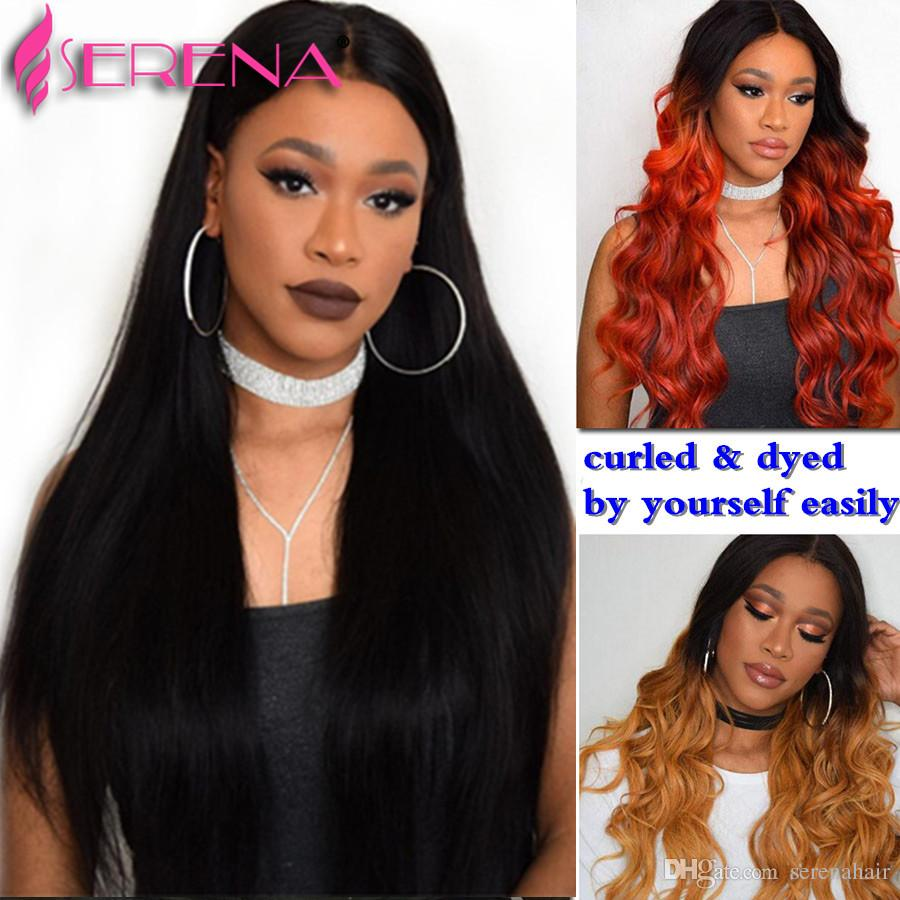 7A vierge brésilienne de cheveux humains droite vague couleur naturelle 360 dentelle frontale avec trois faisceaux 100% cheveux non transformés Extensions de cheveux noirs