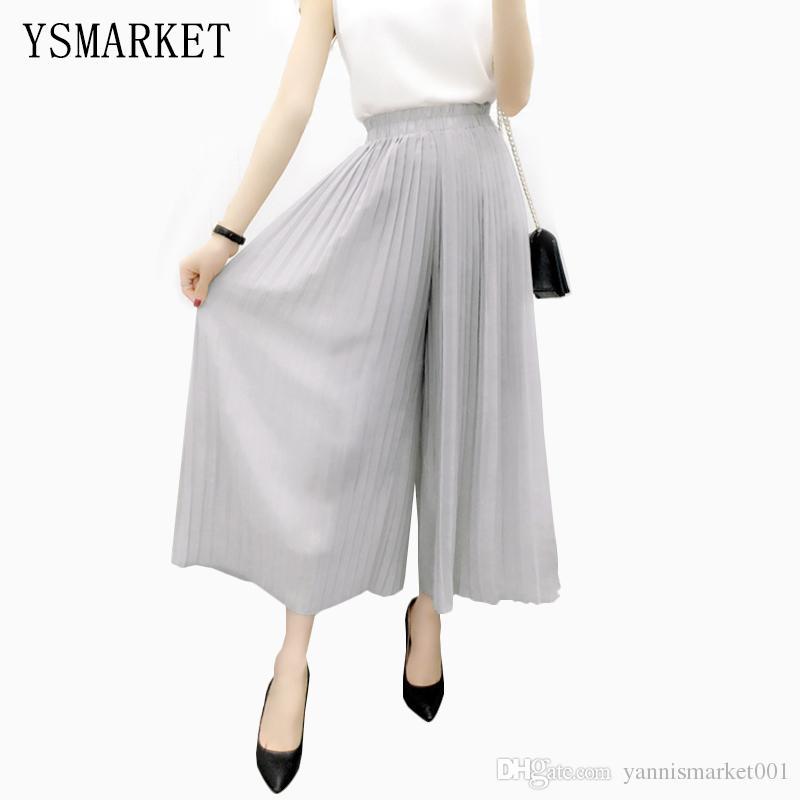 9fa6255f2f9 2019 Korean Summer Stretch Soild 2017 Wide Leg Pants Female Pleated Long  Women Dance Pant Feet Straight Casual Chiffon Trousers E8444 From  Yannismarket001