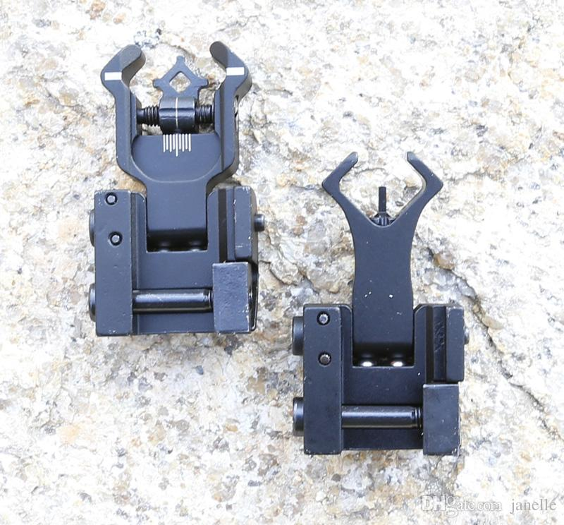 Flip up Front Rear Iron Sight Set Dual Diamond Shape BUIS for 20mm Mount of Hunting Gun Rifle Airsoft Accessories