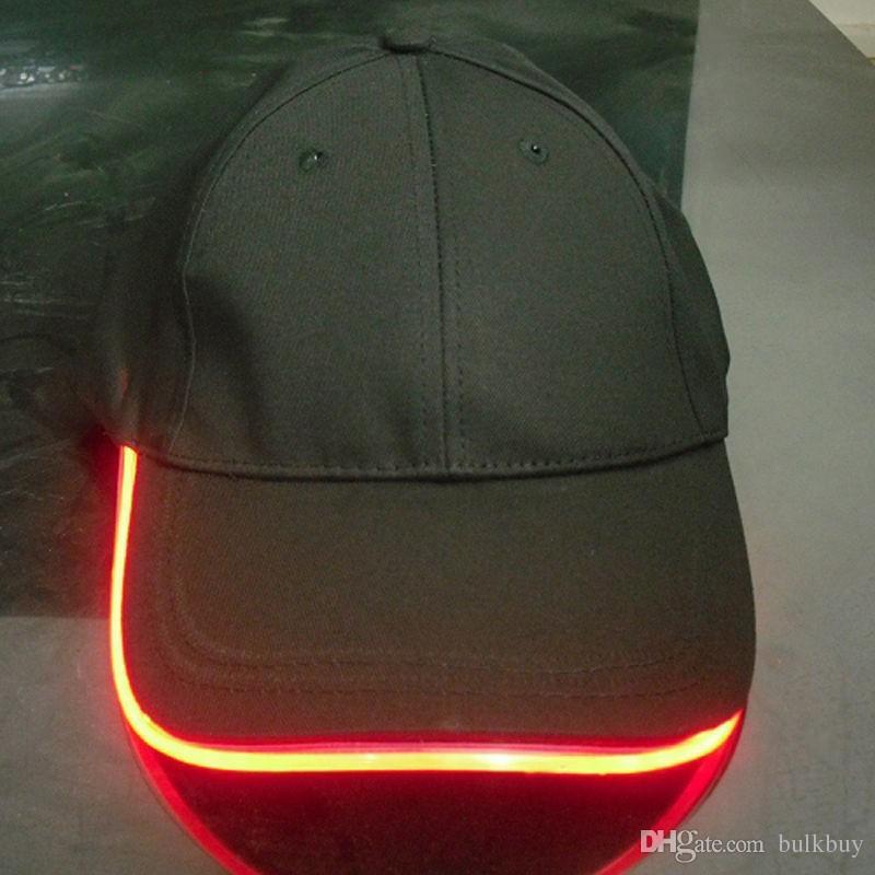 Unisex Caps Fashion LED Lighted Glow Club Party Black Fabric Travel Hat Baseball CapLuminous Cap Tourism Topi Cap