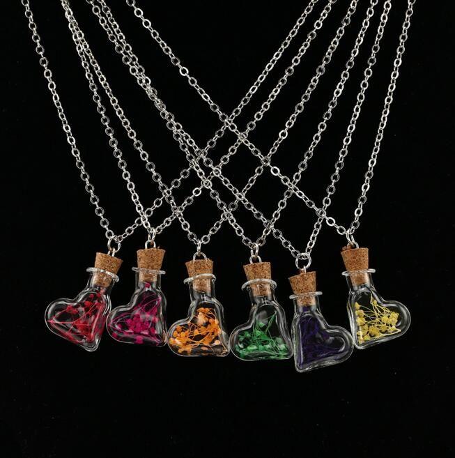 Горячие продажи Горячие предметы украшены стеклянной крышкой сухой цветок ожерелье дрейф бутылка подвеска рука DIY WFN313 с цепочкой заказ смешивания 20 штук много