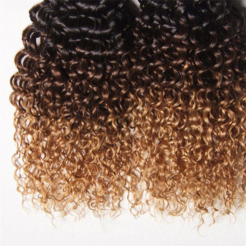 페루 옹 브르 인간의 머리 3 번들 킨키 곱슬 1B / 4 / 27 다크 루트 브라운 꿀 금발 세 톤 선염 처녀 인간의 머리카락이 엮어 확장