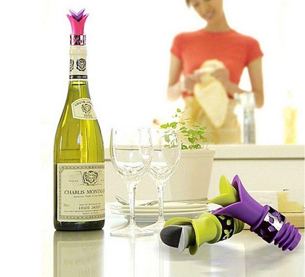 / 새로운 실리콘 릴리 병 마개 Leakproof 와인 Pourer 주방 파티 코르크 안티 엎 지르지 LB 451