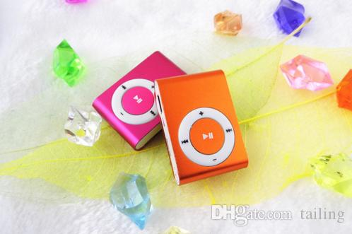 Newest mp3 Mini Cheap Clip Digital Mp3 Music Player USB with SD card Slot black silver mixed colors include earphone and charger box DHL