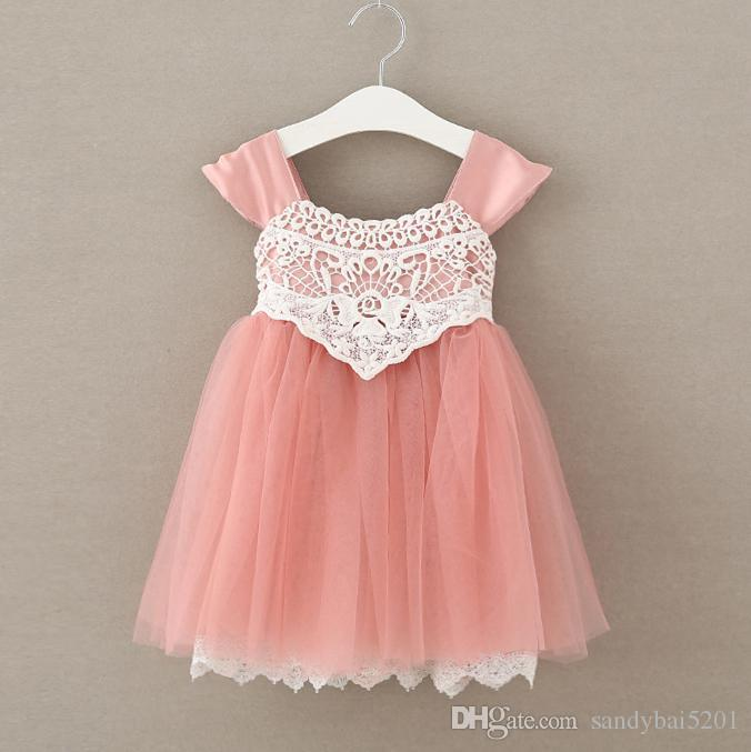 0e22645f9c41 2019 Kids Girls Lace Dresses 2017 Summer Baby Girl Floral Embroidey Dress  Infant Princess Tulle Dress For Party Children Wholesale Clothing S519 From  ...