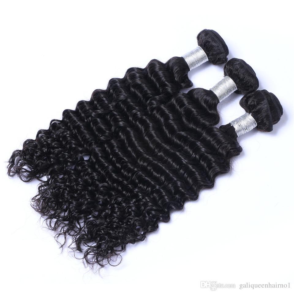 Brezilyalı Derin Dalga İnsan Virgin Saç 4x4 Ile Dantel Kapatma Kapatma Frontal Ağartılmış Knot Ile 100 g / adet Doğal Renk Çift Atkı Saç Uzantıları