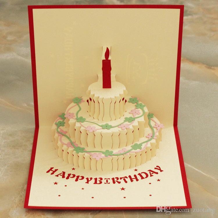 Handmade Paper Cut 3d Stereoscopic Birthday Greeting Card Folding