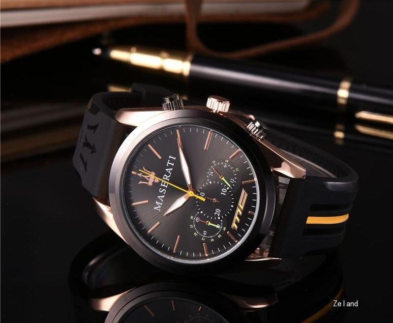 Regalo Hombres Relojes de silicona de oro Reloj de cuarzo analógico impermeable Ejército deportivo Reloj militar