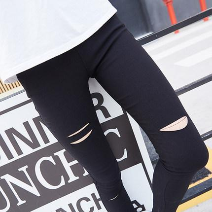 2282d489646 Wholesale- Black Hole Legging Female Thin Ankle Length Trousers ...