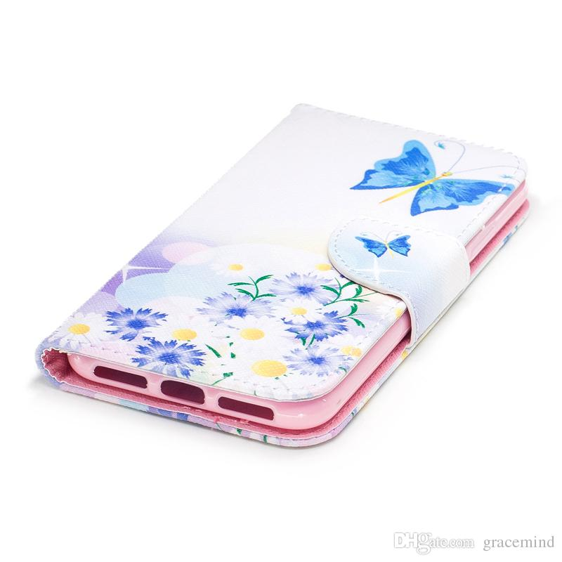 For iPhone X Cover Painted PU Leather Cases Flip wallet Card Stents holster Feather Colorful Blue Butterfly Designer Phone Covers