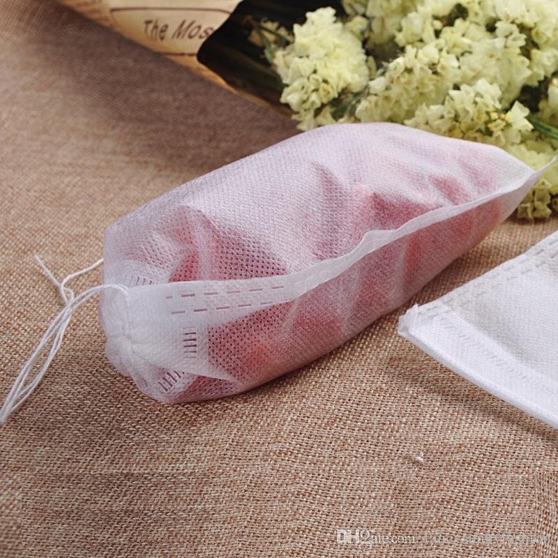 bolsitas de té vacías material de grado alimenticio hecho filtro bolsas de té con cordón único, infusor de té desechable, precio barato al por mayor 6 * 8 cm 9 * 10 cm 5.5 * 7 cm
