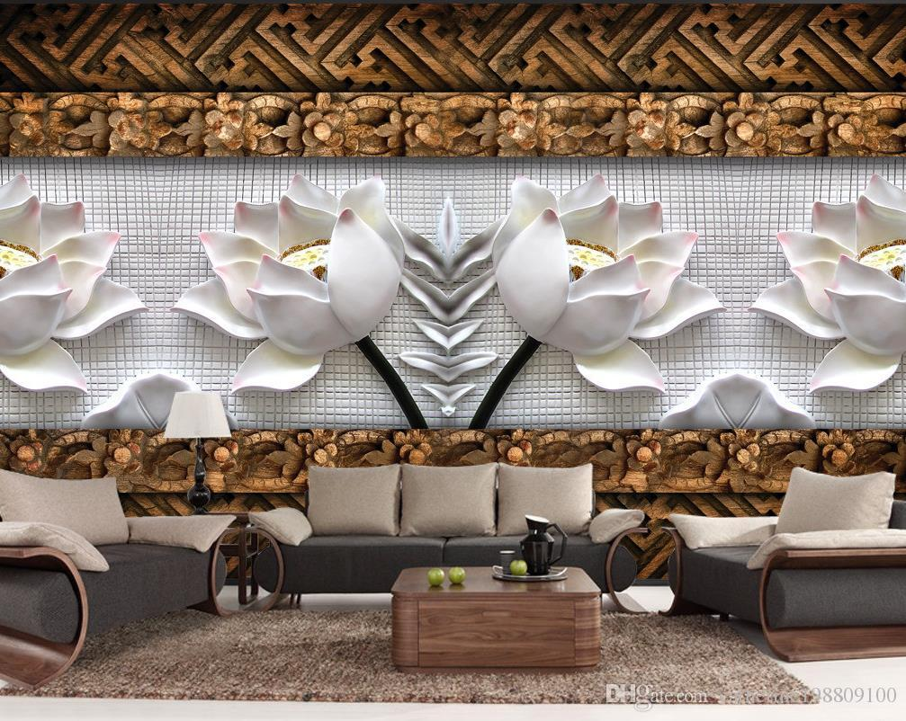 Wood Wall Mural lotus carved wood carving background wall mural 3d wallpaper 3d